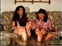 retro cuties showing off their oiled feet.