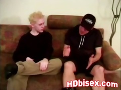 two bisexual guys sharing blonde whore