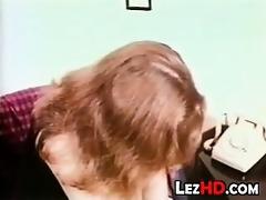retro lesbian babes giving a kiss