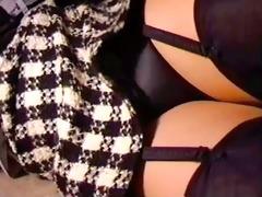 upskirt black suspenders