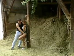 german legal age teenager gets pounded in the barn