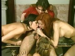 3 girls 1 penis blowjob &; cumshot - retro