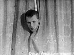 authentic vintage porn 1950s - bald pussy, voyeur