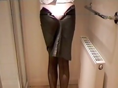 leather miniskirt girdle &; stockings