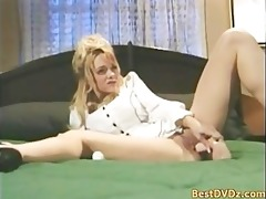 buxom blonde girl gets poked on bed