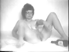 vintage bottle in her pussy