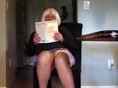 faggot crossdresser shows nylons and hair upskirt