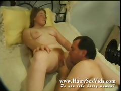 eating out threesome red curly pussy