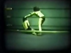 vintage, mixed wrestling beatdown