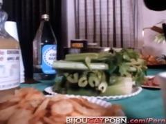 80s porn - guys fuck at party & voyeur shoves