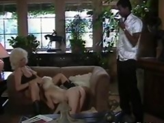 2 blondes and black cock